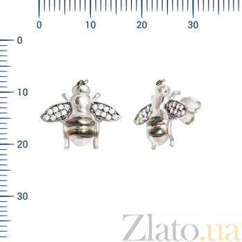 Серебряные серьги-пуссеты Пчелки с фианитами 000081939