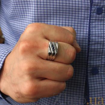 Серебряный перстень с бриллиантами и сапфирами Эрис ZMX--RDS-49631-Ag_K