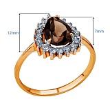 Золотое кольцо с кварцем и цирконием Таисия