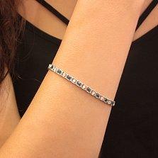 Серебряный браслет Мирена со светло-синим и белым цирконием