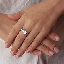 Серебряное кольцо Два сердечка в стиле Тиффани