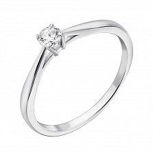 Золотое помолвочное кольцо Crazy Love в белом цвете с бриллиантом 0,12ct