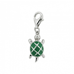 Серебряный брелок Черепашка с зеленой эмалью 000016558
