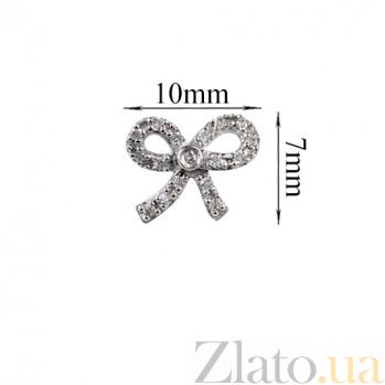 Золотые серьги с бриллиантами Сверкающий бант 000026665
