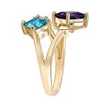 Золотое кольцо с топазом, аметистом и бриллиантами Квадрум