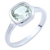 Серебряное кольцо Забава с зеленым аметистом