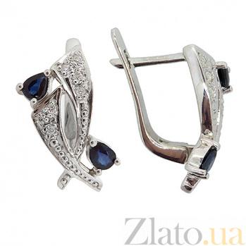 Серебряные серьги Паулина с бриллиантами и сапфирами ZMX--EDS-6150-Ag_K