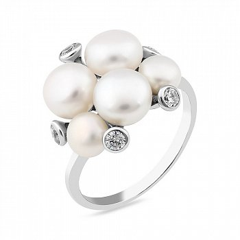 Срібне кільце з перлами і фіанітами 000149479
