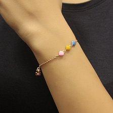 Детский золотой браслет Любимый мишка с цветной эмалью, звеньями-сердцами и подвеской-игрушкой