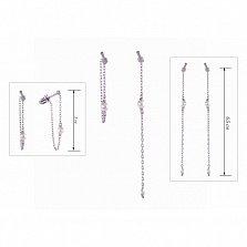 Серебряные двусторонние пуссеты-цепочки Городские плетения с жемчугом и фианитами