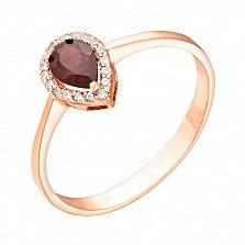 Золотое кольцо Инесса с гранатом и цирконием