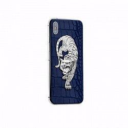 Apple IPhone XS Noblesse TIGER sapphire в темно-синей коже и изображением тигра