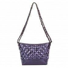 Кожаный клатч Genuine Leather 8816 фиолетового цвета с замком-молнией и плечевым ремнем