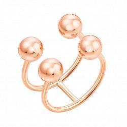 Золотое разомкнутое кольцо в красном цвете с шариками  000119322