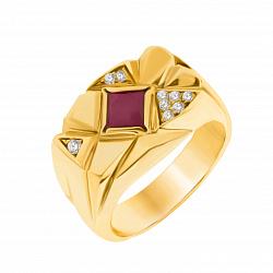 Золотой дизайнерский перстень Огненный ветер с фактурной поверхностью, рубином и бриллиантами