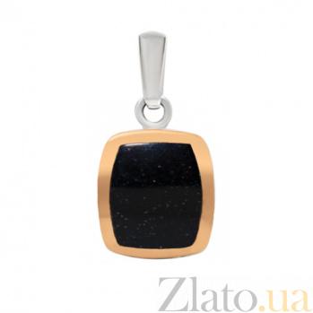 Серебряная подвеска с авантюрином и золотой вставкой Селинда BGS--255/1п