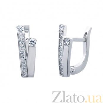 Серебряные серьги с белыми цирконами Виктория AQA--72057б
