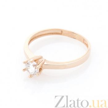 Золотое помолвочное кольцо Даниэла с фианитом и шестью крапанами 000082417