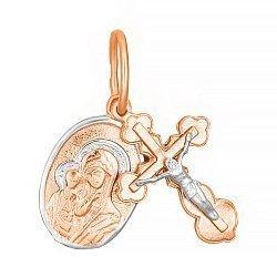 Серебряный крестик с ладанкой Берегиня с позолотой 000028640
