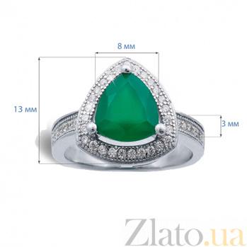 Серебряное кольцо с зеленым агатом Жаклин AQA--R00825Ag