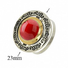 Серебряное кольцо Джоконда с кораллом и золотой вставкой