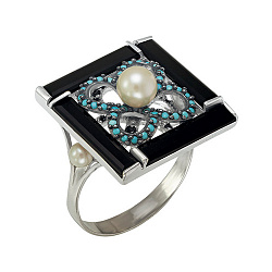 Серебряное кольцо Ночное рандеву Карамия