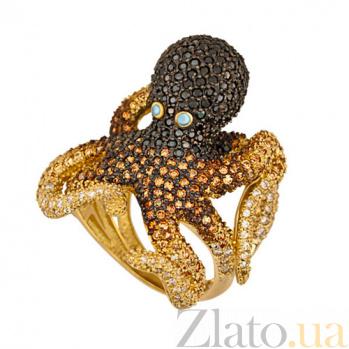 Кольцо из желтого золота Осьминог с фианитами VLT--ТТ1153