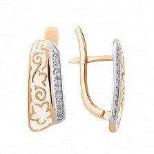 Золотые серьги Кэйт с бриллиантами и белой эмалью