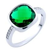 Серебряное кольцо Альфия с синтезированным изумрудом и фианитами