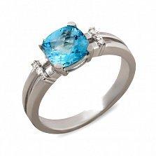Кольцо Лондон из белого золота с бриллиантами и топазом