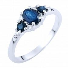 Серебряное кольцо Амани с сапфирами и фианитами