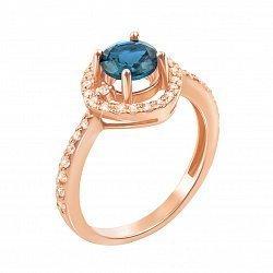 Золотое кольцо Клотильда в красном цвете с топазом лондон и фианитами