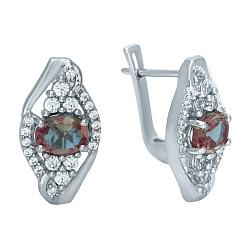 Серебряные серьги с султанитом и цирконием 000076095