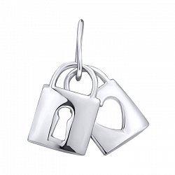 Серебряный кулон Два замочка с сердечком 000103007