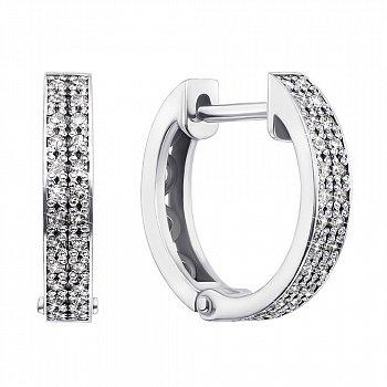 Золотые серьги-кольца в белом цвете с бриллиантами, d 11 mm 000124459