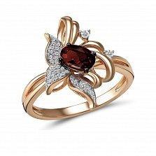 Кольцо из красного золота Опра с бриллиантами и гранатом