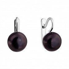 Серебряные серьги Бусина с черным жемчугом