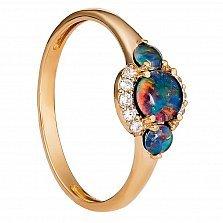 Золотое кольцо Мьянма с опалом и фианитами