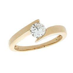 Золотое кольцо в красном цвете с бриллиантом 000021499