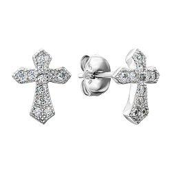 Серебряные серьги-пуссеты с фианитами 000137713