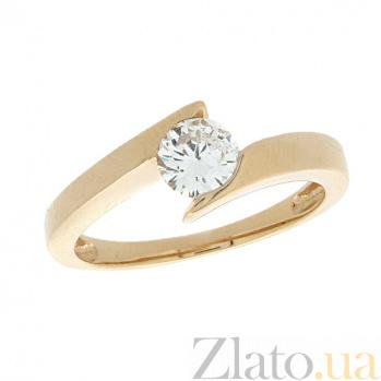 Золотое кольцо в красном цвете с бриллиантом Джахан 000021499