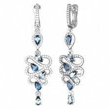Серебряные серьги Агния с кварцем под лондон топаз, голубым кварцем и фианитами