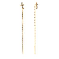 Серьги-протяжки из красного золота Крестики с фианитами