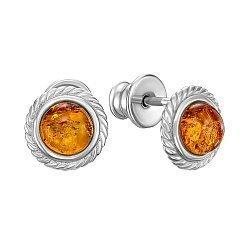 Серебряные серьги-пуссеты с янтарем 000146325