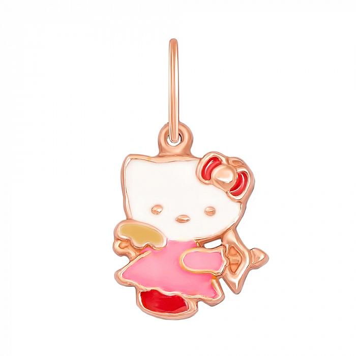 Золотой кулон Гламурная кошечка с цветной эмалью в стиле Хэллоу Китти 3809