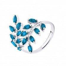 Серебряное кольцо Веточки с голубыми топазами