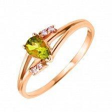 Кольцо в красном золоте Алина с хризолитом и фианитами