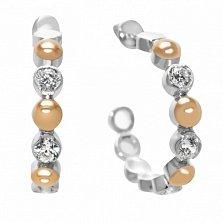 Серебряные пуссеты с золотыми вставками и фианитами Карен