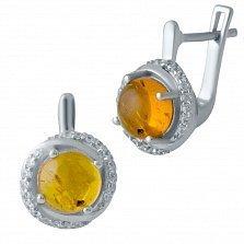 Серебряные серьги Венди с узорами, янтарем и фианитами