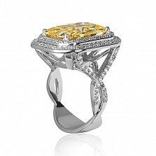 Золотое кольцо Георгина в белом цвете с цитрином и бриллиантами
